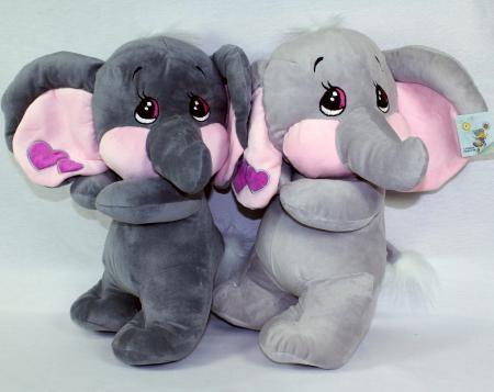 Plüsch Elefant 40cm mit Herzen 2 grau sort.