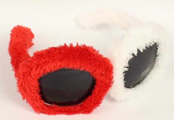 Rotweisse Plüschsonnenbrille