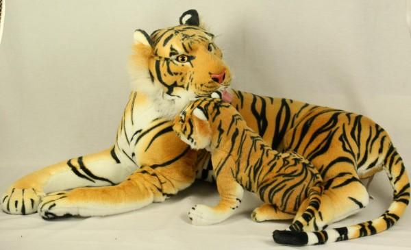 Plüsch Tiger mit Jungem 80cm braun