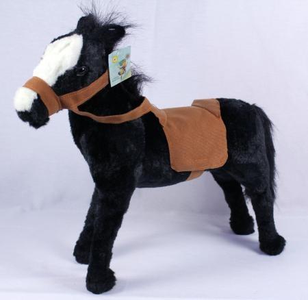 Plüsch Pferd schwarz mit Sattel
