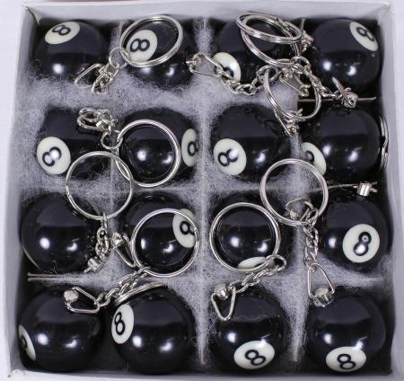 Schlüsselanhänger Billardkugel schwarz 8