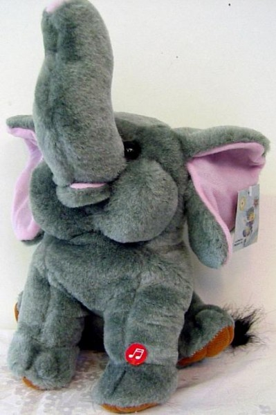 Plüsch Elefant 22cm mit Sound Happy Birthday 3 x AA Batterien exkl.
